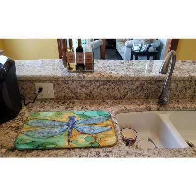 14 in. x 21 in. Multicolor Abstract Dragonfly Dish Drying Mat