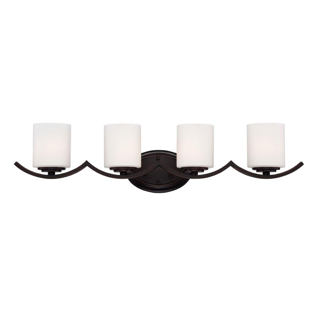 Hampton bay betton 4 light oil rubbed bronze vanity light with opal hampton bay betton 4 light oil rubbed bronze vanity light with opal white glass cylinder shades 23057 hbu the home depot mozeypictures Images