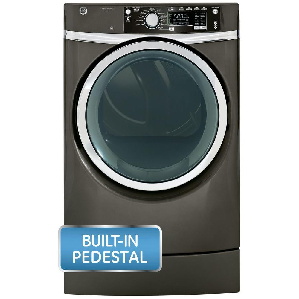 GE 8.3 cu. ft. Right Height Front Load Electric Dryer with Steam in Metallic Carbon, Pedestal Included