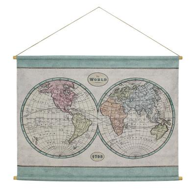 Globe Map Hanging Linen Multi Colored Wall Tapestry