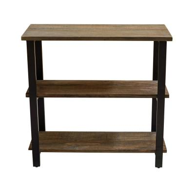 Pomona 31 in. Natural/Black Metal 2-shelf Etagere Bookcase