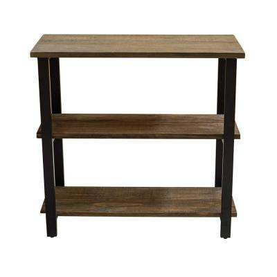 Pomona 31 in. H Natural Metal and Solid Wood Under-Window Bookcase with 2-Shelf