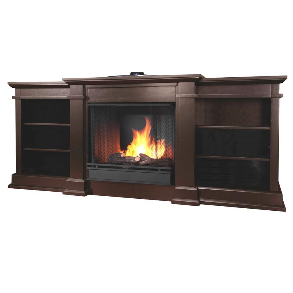 Real Flame Fresno 72 in. Media Console Gel Fuel Fireplace in Dark Walnut