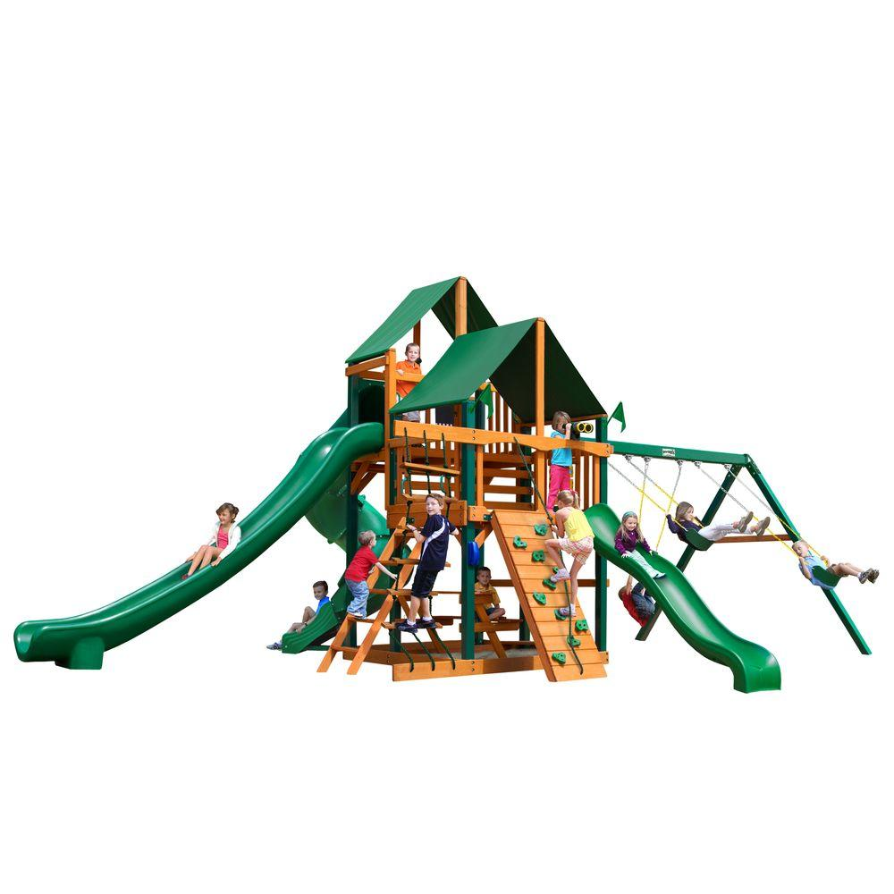 Gorilla Playsets Great Skye II with Timber Shield and Sunbrella Canvas Forest Green Canopy Cedar Playset