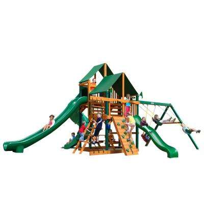 Great Skye II with Timber Shield and Sunbrella Canvas Forest Green Canopy Cedar Playset
