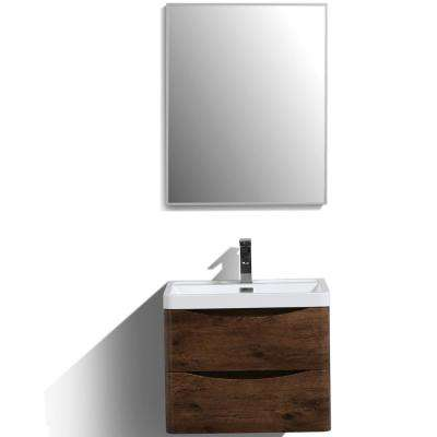Smile 24 in. W x 16.5 in. D x 21 in. H Vanity in White with Acrylic Vanity Top in Rosewood with White Basin
