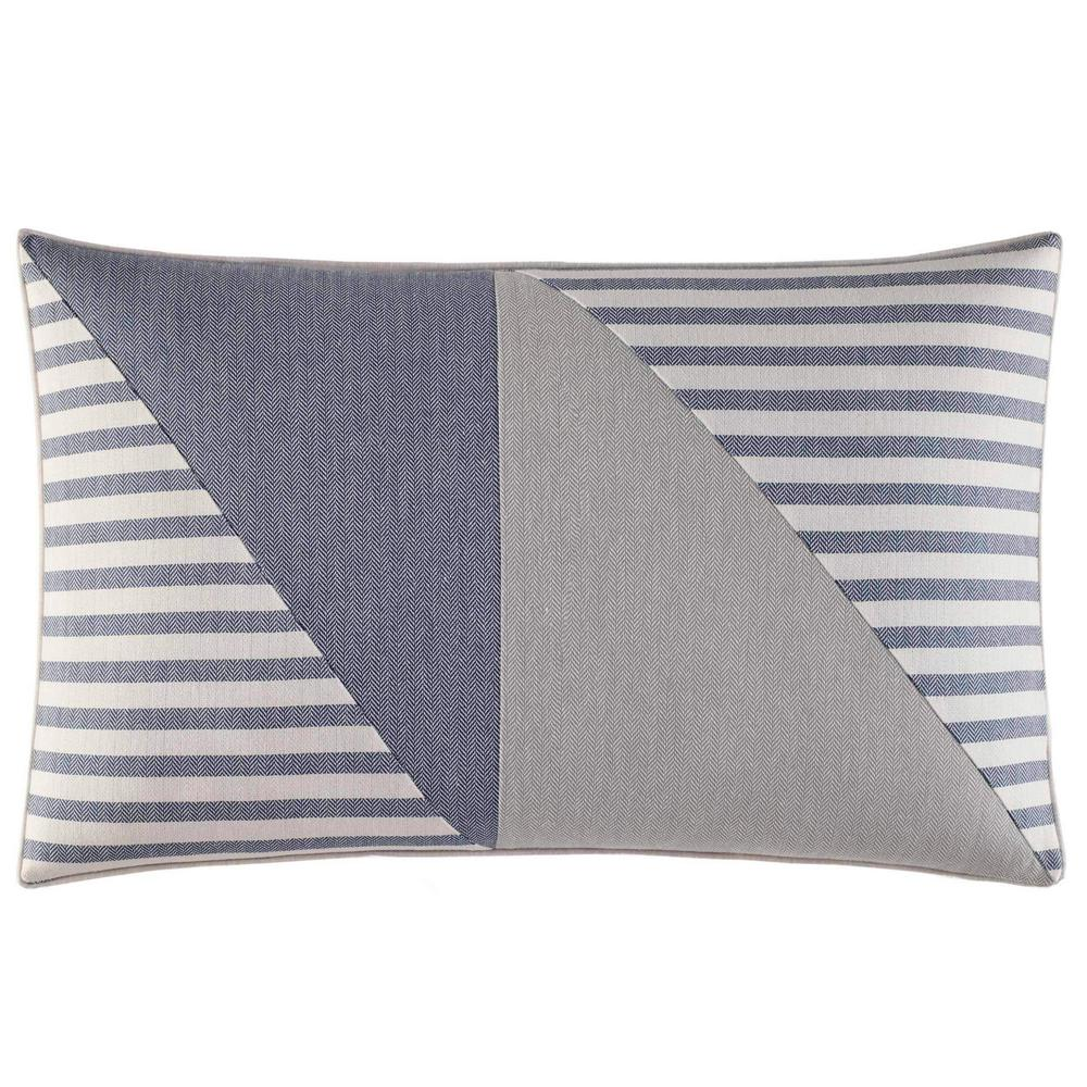 Fairwater Blue Cotton 14 in. x 20 in. Breakfast Pillow