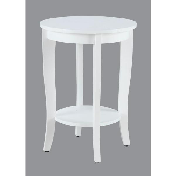 Convenience Concepts American Heritage Round White End Table 7106259W