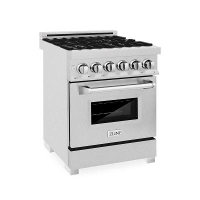ZLINE 24 in. Professional Dual Fuel Range in DuraSnow Stainless with DuraSnow Stainless Door