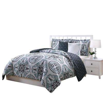 Bailey Blue,Gray and Black 5-Piece Reversible King Comforter Set