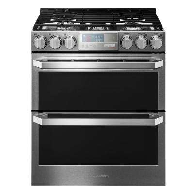 6.9 cu. ft. Double Oven Smart Slide-in Gas Range with WiFi Enabled in Textured Steel