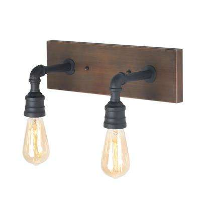 2-Light Black Bathroom Vanity Light