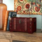 11 in. x 6.4 in. Wooden Antique Style Small Trunk