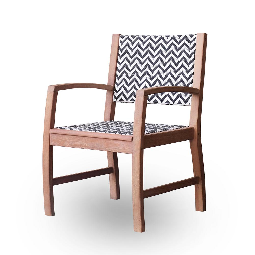 Lorca Solid Wood Wicker Outdoor Dining Arm Chair