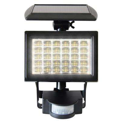Solar Series 10° Black Motion Activated Outdoor Integrated LED Flood Security Light