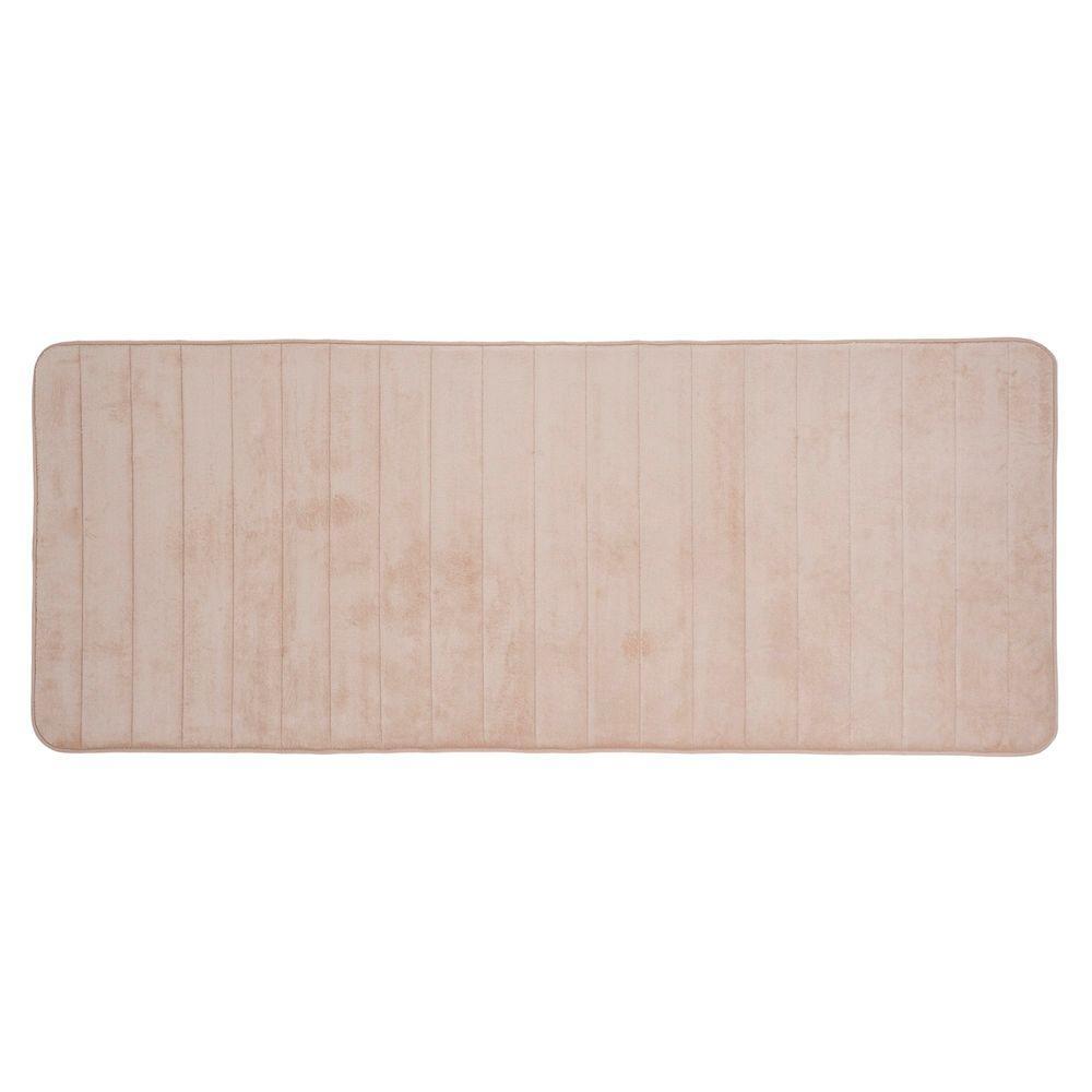 Ivory 24.25 in. x 60 in. Memory Foam Striped Extra Long Bath Mat