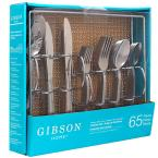 Bay 65 Piece Silver Stainless Steel Flatware Set with Wire Caddie (Service for 8)