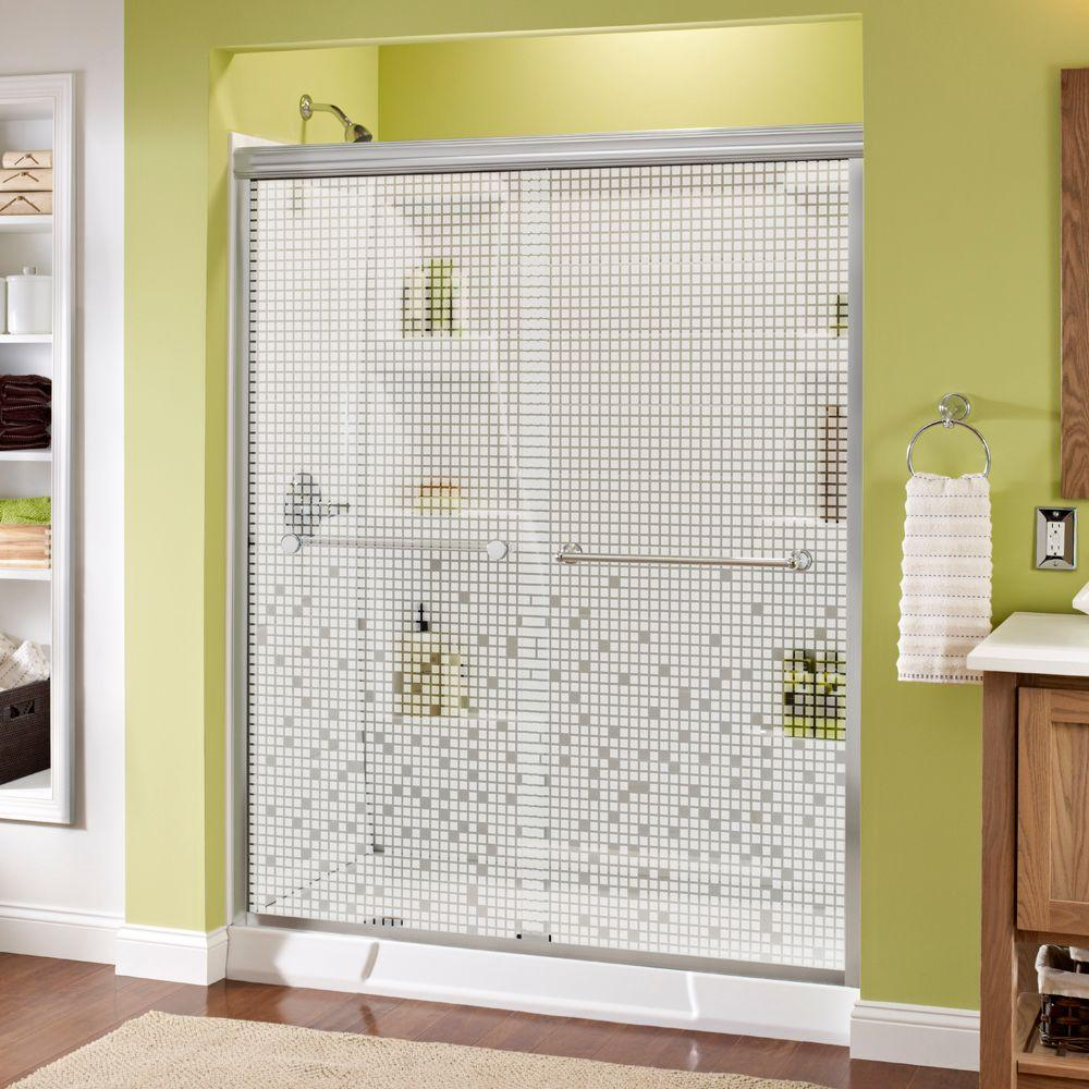 Delta Crestfield 60 in. x 70 in. Semi-Frameless Traditional Sliding Shower Door in Chrome with Mozaic Glass