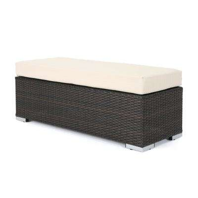 Nolan Multi-Brown Wicker Outdoor Bench with Beige Cushion