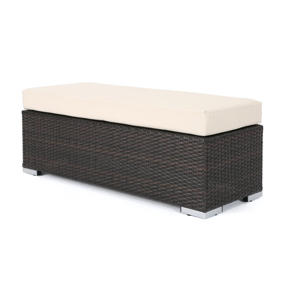 Nolan Multi-Brown Wicker Outdoor Bench with Beige Cushion
