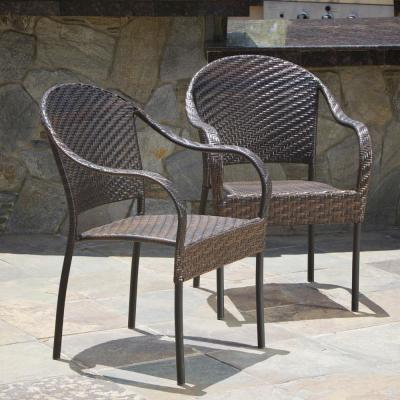 Sunset Multi Brown Tight-weave Wicker Outdoor Dining Chair (Set of Two)
