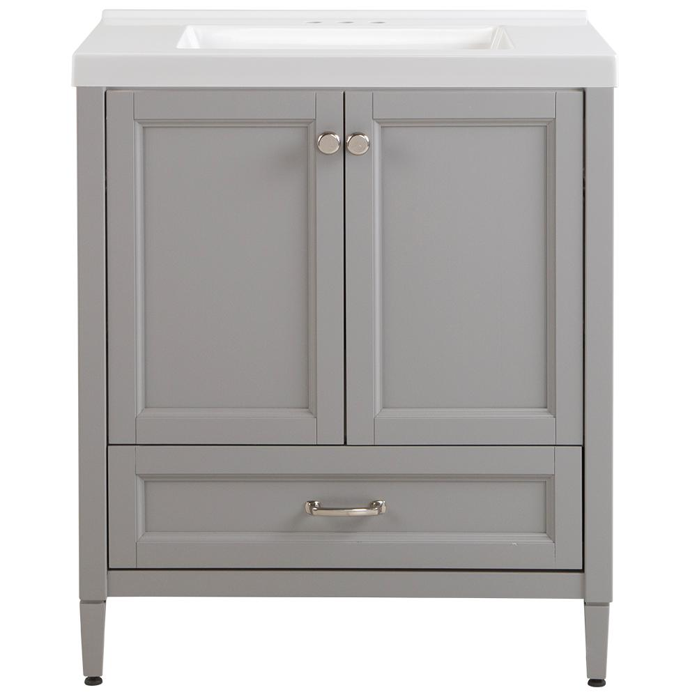 Home Decorators Collection Claxby 31 in. W x 22 in. D x 37 in. H Vanity in Sterling Gray with Cultured Marble Vanity Top in White with White Sink