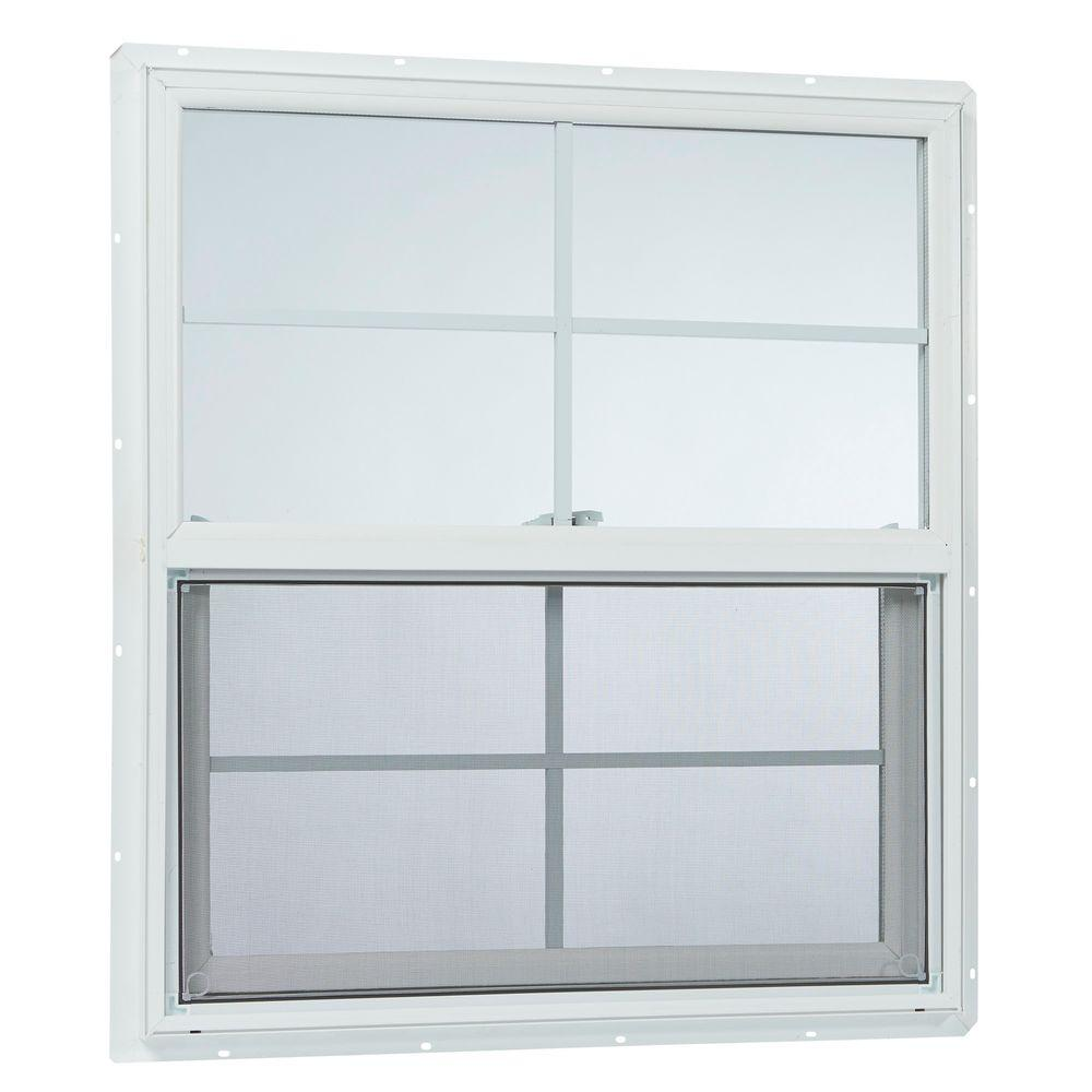 awesome insulated vinyl windows #4: TAFCO WINDOWS 31.25 in. x 35.25 in. Single Hung Vinyl Window Insulated with  Grids