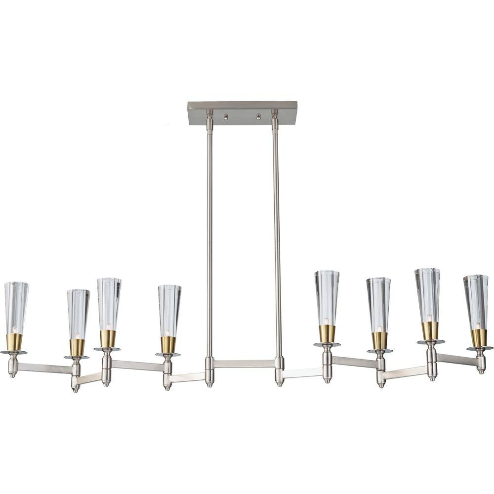 Feiss Celebration 8-Light Brushed Nickel/Natural Brass Billiard Island Chandelier Shade