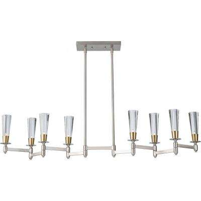 Celebration 8-Light Brushed Nickel/Natural Brass Billiard Island Chandelier Shade