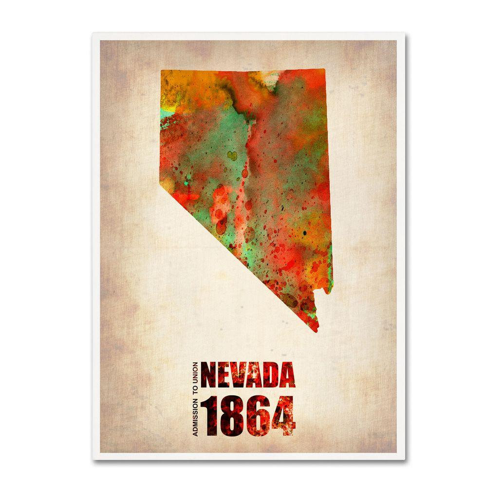19 in. x 14 in. Nevada Watercolor Map Canvas Art