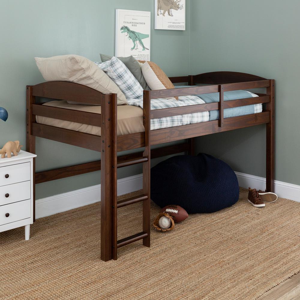 Solid Wood Walnut Low Loft Twin Bed