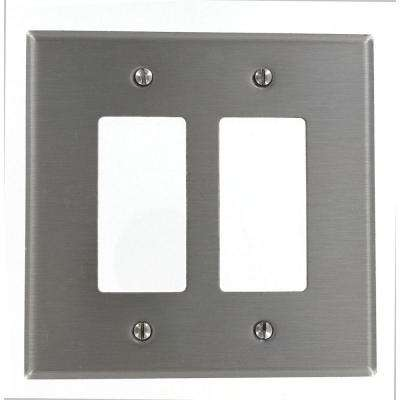 2-Gang Decora Oversized Wall Plate, Stainless Steel