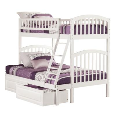 Richland White Twin Over Full Bunk Bed with 2-Raised Panel Bed Drawers