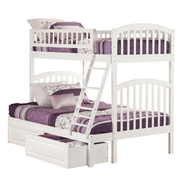 Atlantic Furniture Richland White Twin Over Full Bunk Bed with 2-Raised