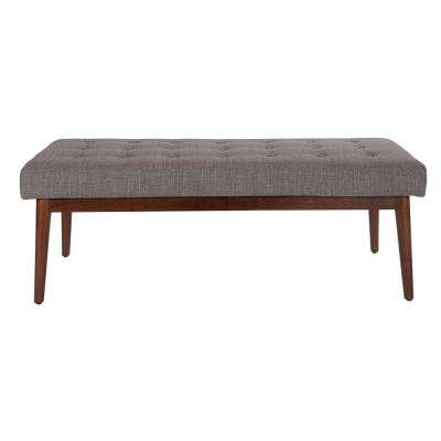 West Park Cement Fabric with Coffeeed Legs Bench