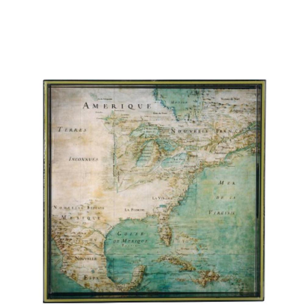 Vintage Maps America c.1680 Square Tray