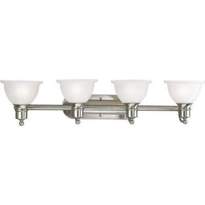 Madison Collection 4-Light Brushed Nickel Vanity Light with Etched Glass Shades