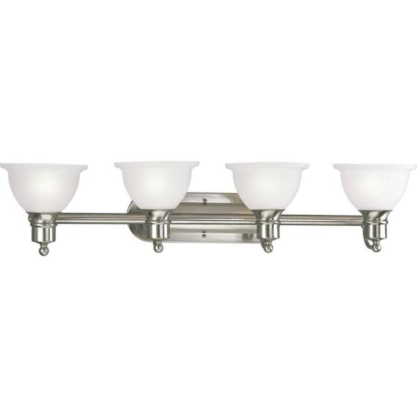 Madison Collection 37.5 in. 4-Light Brushed Nickel Bathroom Vanity Light with Glass Shades