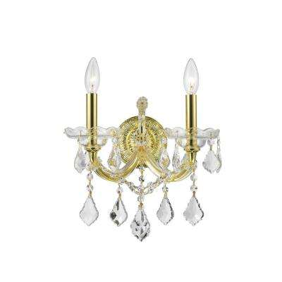 Maria Theresa Collection 2-Light Gold with Clear Crystal Sconce