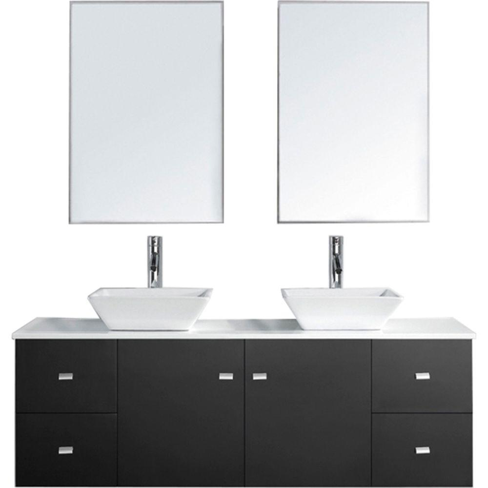 Virtu USA Clarissa 61.02 in. W x 22.05 in. D x 20.87 in. H Espresso Vanity with Stone Vanity Top with White Basin and Mirror