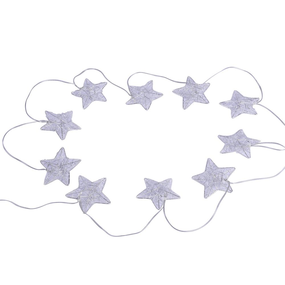 10-Light Silver Wire Stars LED String Light