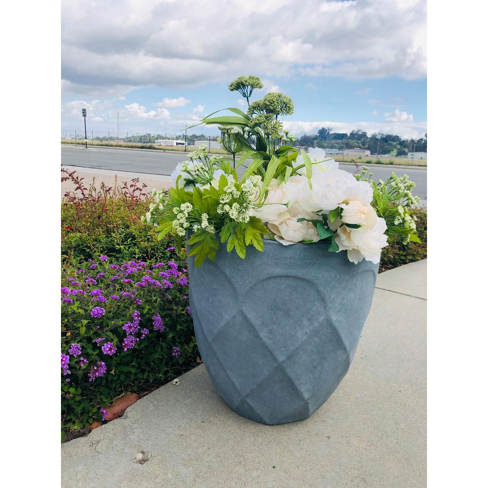 DurX-litecrete Medium 17 in. Dia Lightweight Concrete Modern Retro Round Slate Gray Planter