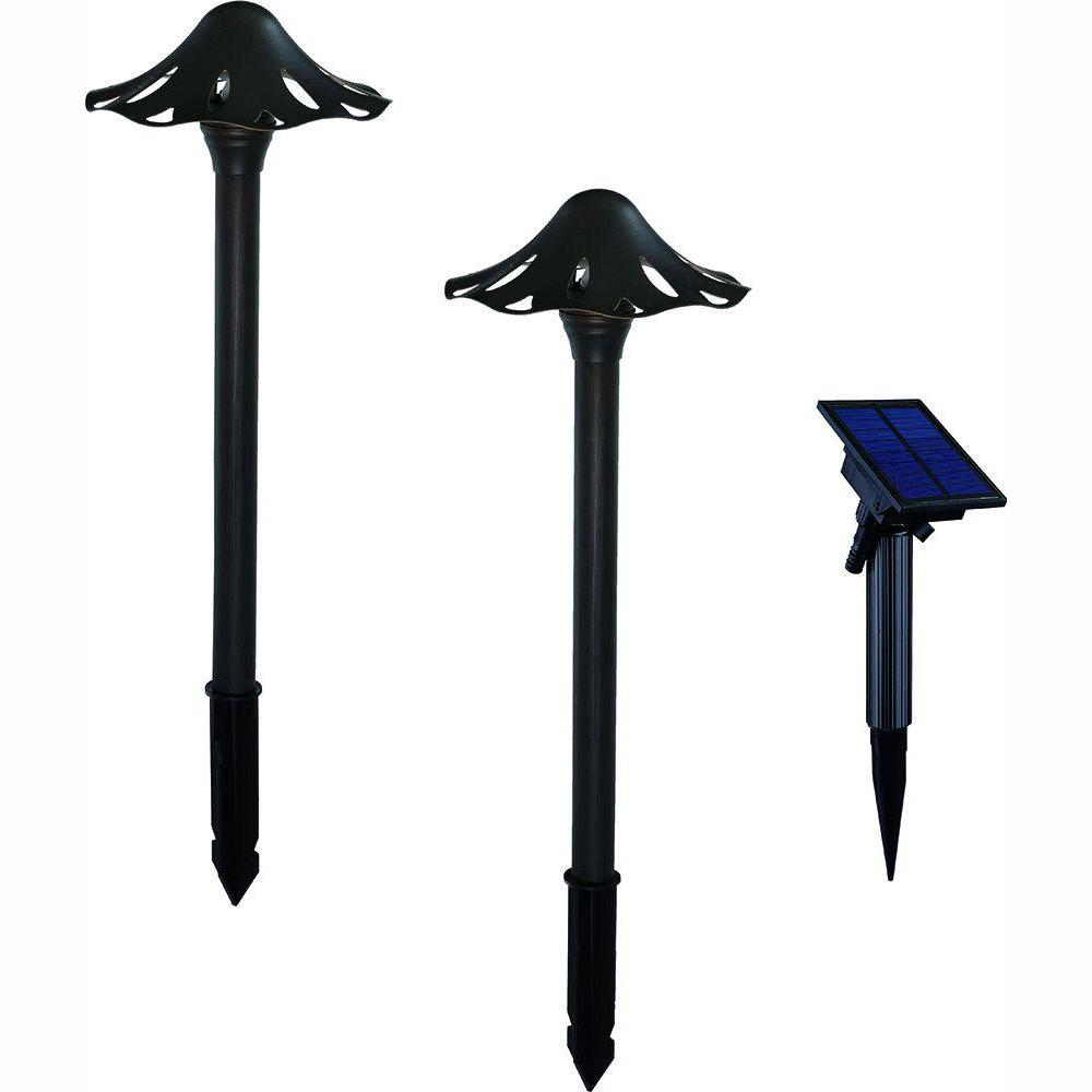 Hampton Bay Solar Powered Integrated Led Black Landscape: Hampton Bay Solar Black Outdoor Integrated LED Mushroom