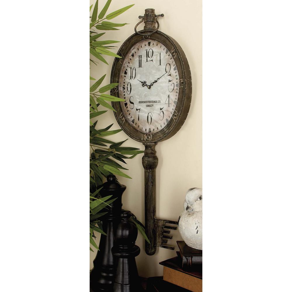38 in. x 12 in. London Inspired Skeleton Key Wall Clock