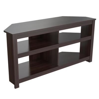 Inval Collection 50 in. Espresso Wengue Wood Corner TV Stand Fits TVs Up to 60 in. with Cable Management