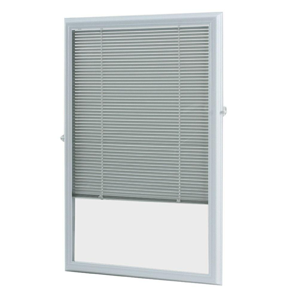 ODL White Cordless Add On Enclosed Blind with 1/2 in. Wide Aluminum ...