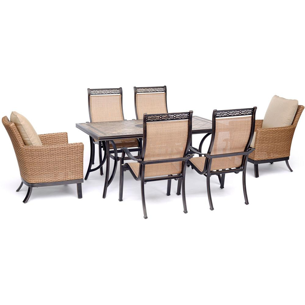 Hanover Monaco 7-Piece Aluminum Outdoor Dining Set with Tan Cushions, 2 Woven Armchairs, 4 PVC Sling Chairs, Tile Table