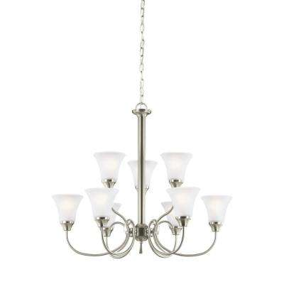 Holman 9-Light Brushed Nickel Chandelier with LED Bulbs