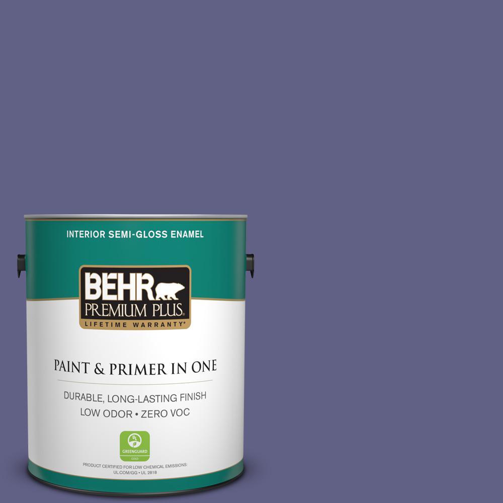 1-gal. #640D-7 Pharaoh Purple Zero VOC Semi-Gloss Enamel Interior Paint