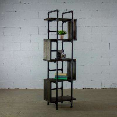 Tucson Modern Industrial, Black 69 in. Tall Narrow 5-Shelf Etagere Pipe Bookcase Display-Metal-Reclaimed Wood